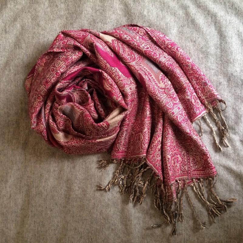 Soft Paisley Pashmina Scarf in Dark Pink & Beige