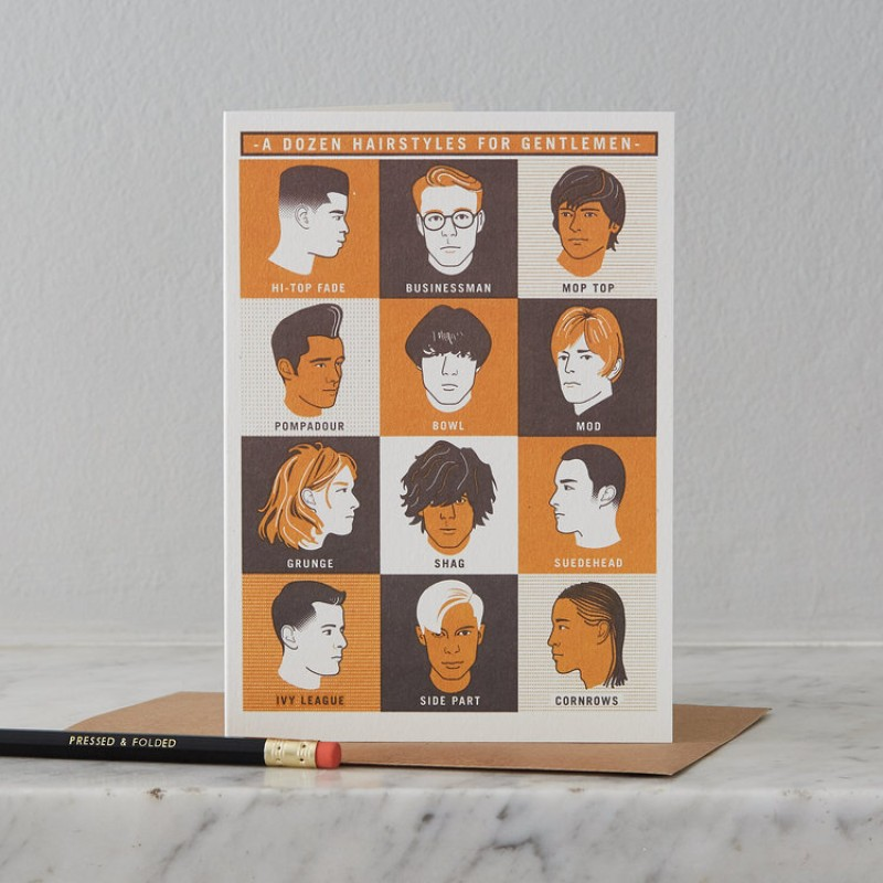 Gentlemen's Hairstyles Card by Pressed & Folded
