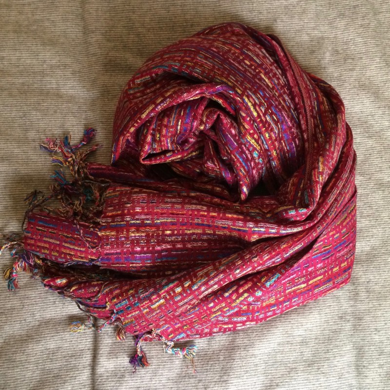 Woven Moroccan Pashmina Scarf - Deep Pink-Red