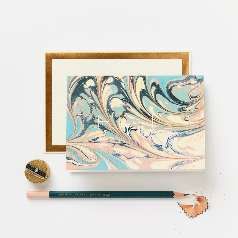 Marble Thanks Card by Katie Leamon