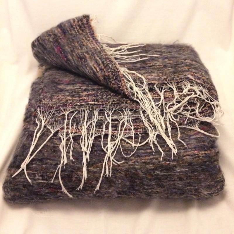 Handwoven Large Bedouin Grey Flecked Wool Throw