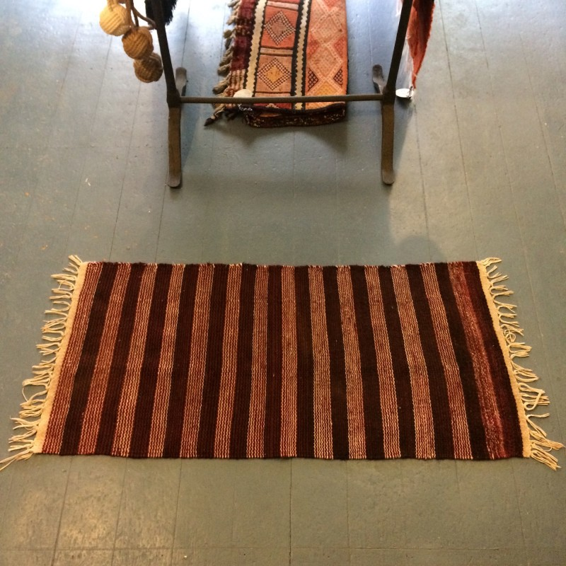Handwoven Bedouin Dark Red Striped Wool Rug