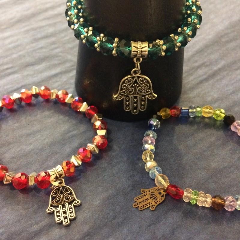 Glass Bead Hand of Fatima Bracelet
