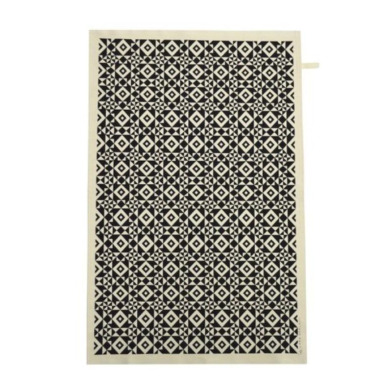 Hand Printed Black Geotile Tea Towel
