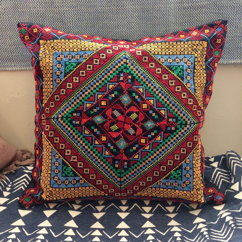 Hand-embroidered Bedouin Cushion - Multi-colour on Black