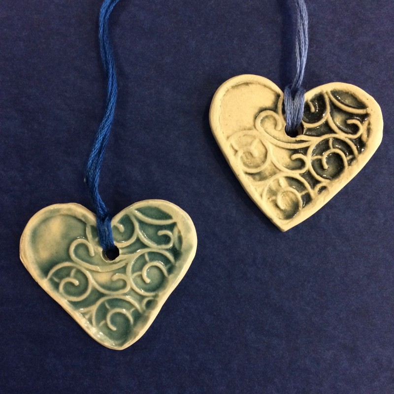 Handmade Ceramic Heart Decoration by Fiona Veacock