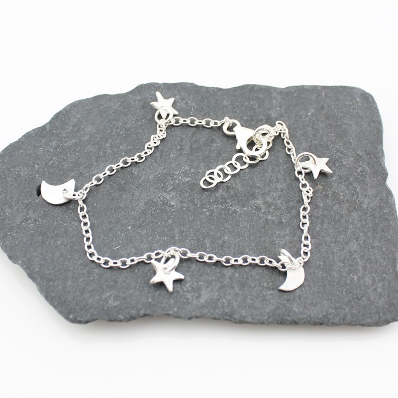 Silver Star & Moon Charm bracelet by Lucy Kemp