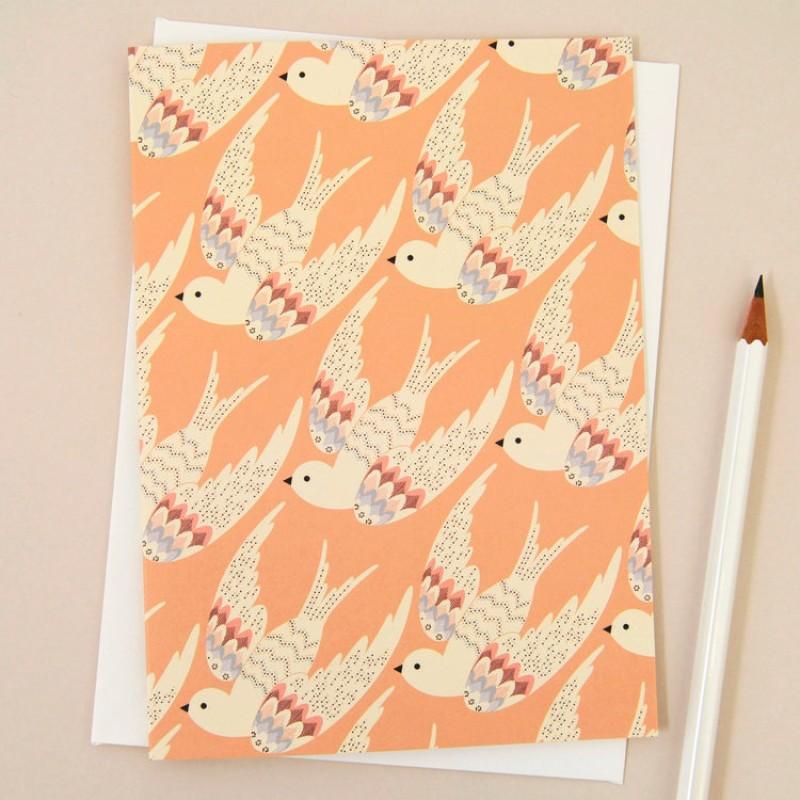 'Deco Birds in Coral' Card by Elvira Van Vredenburgh