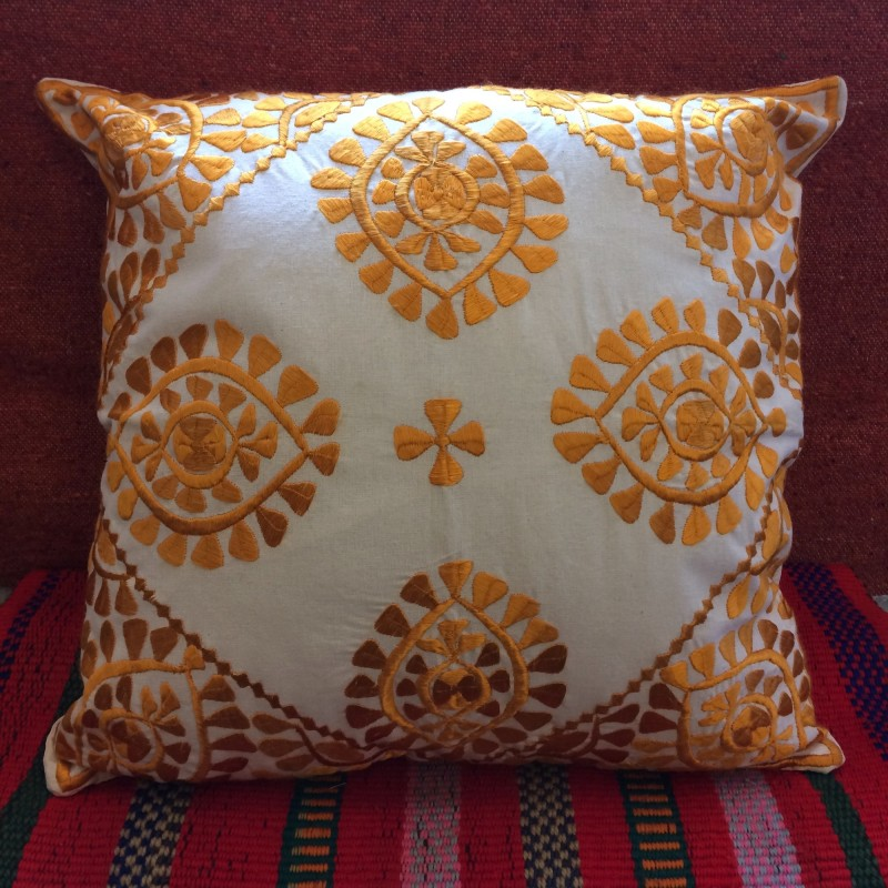 Moroccan Embroidered Cushion - Yellow