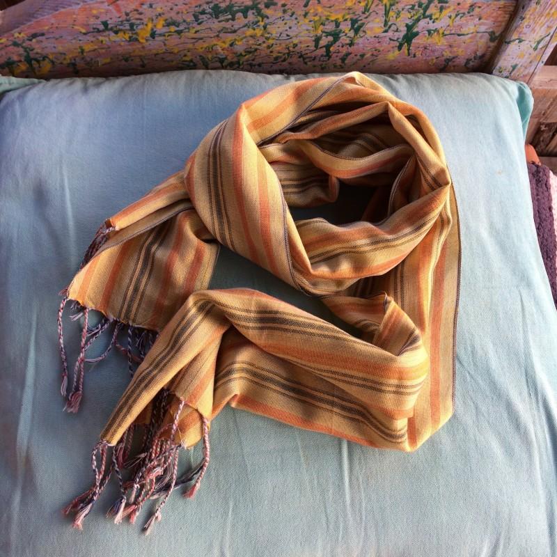 Egyptian Deep Yellow Striped Woven Linen Scarf