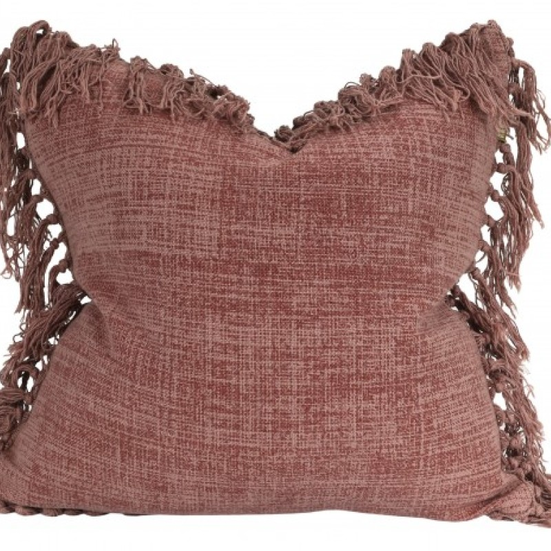 Raine & Humble Jute Tassel Cushion in Mushroom Pink