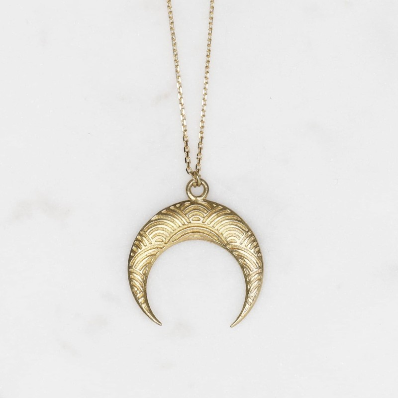 Textured Brass Moon Long Necklace by State of A