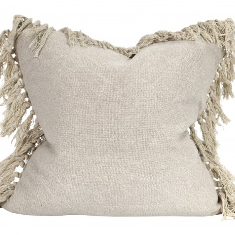 Raine & Humble Jute Tassel Cushion in Taupe