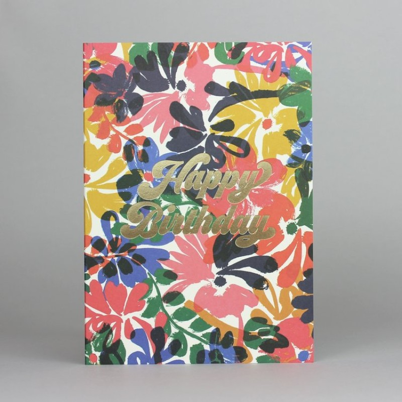 Floral & Gold Foil Birthday Card by Pressed & Folded