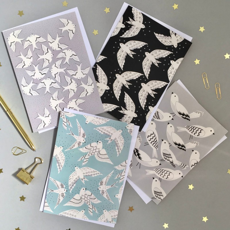 Set of 8 Bird Notecards by Elvira Van Vredenburgh