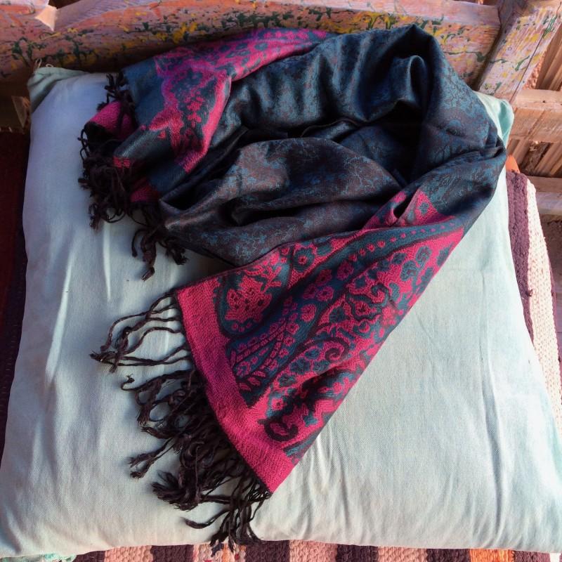 Egyptian Green & Deep Pink Paisley Pashmina Scarf