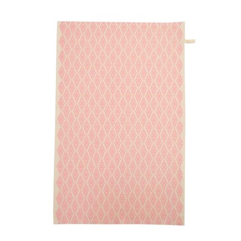 Hand-printed Blush Pink Ribbon Tea Towel