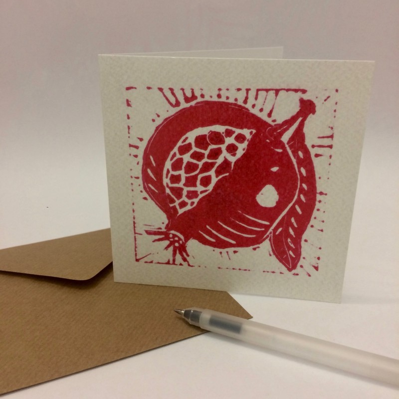 Pomegranate Greeting Card by Olivia Bishop