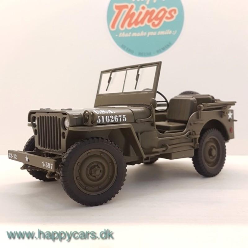 1:18 Jeep Willys, matgrøn, U.S. Army, åben, Welly