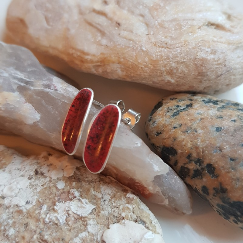 Sterling silver curved oval flash of colour earrings with red and black enamel