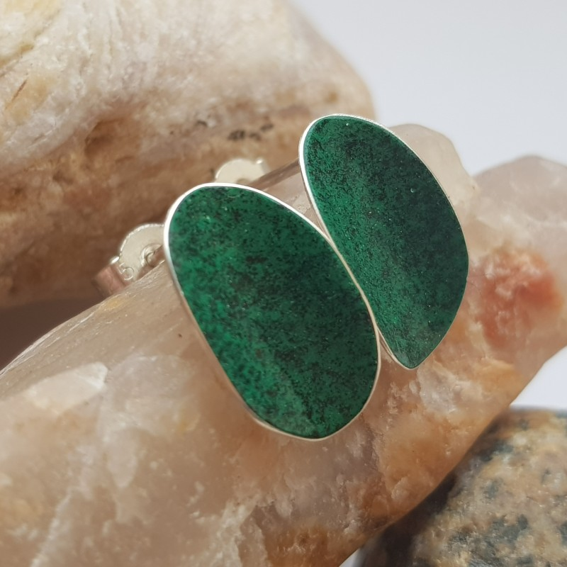 Sterling silver curved flash of colour earrings with green and black enamel