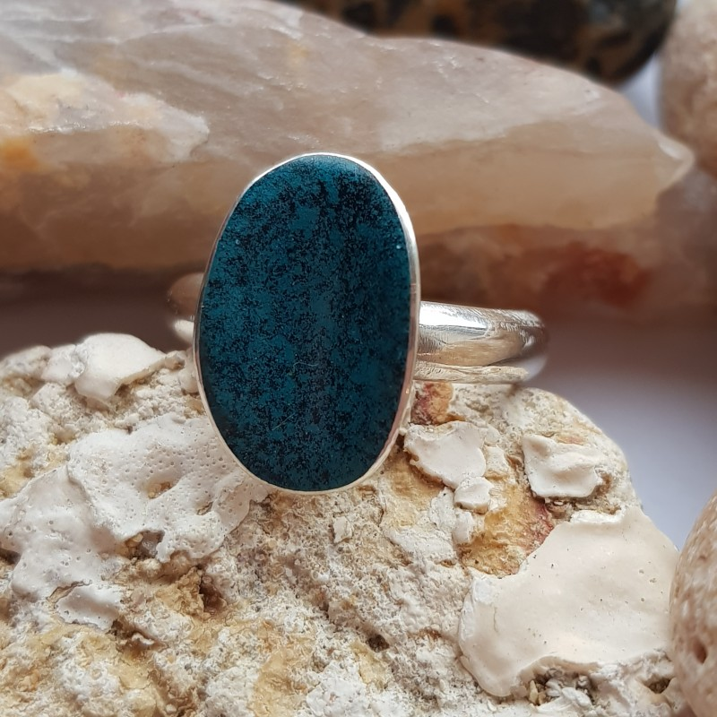 Sterling silver hallmarked flash of colour ring with turquoise and black enamel