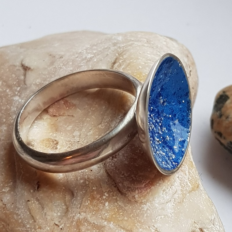 Sterling silver giant galaxy ring with blue enamel with white flecks
