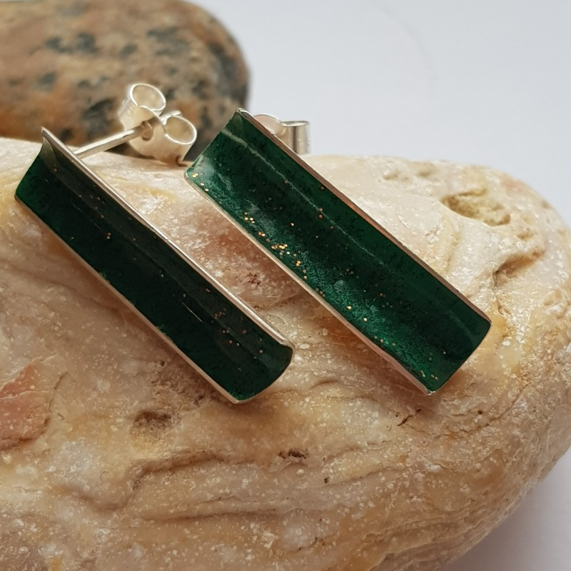 Sterling silver hallmarked razor clam earrings with Green Enamel with copper and black flecks