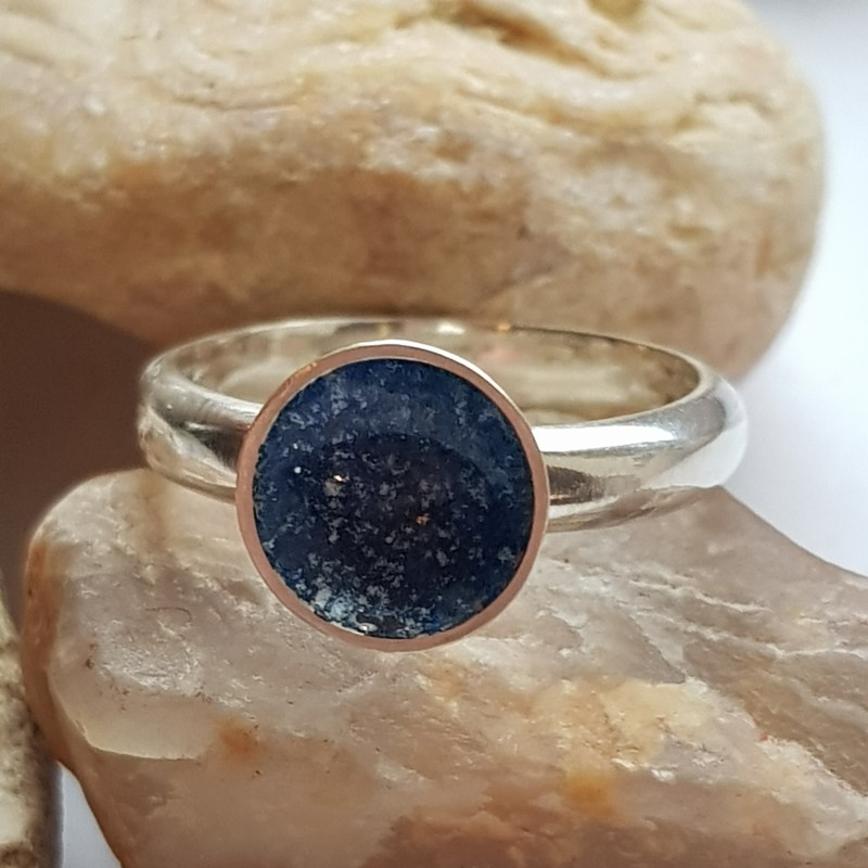 Sterling silver small galaxy ring with blue and white enamels