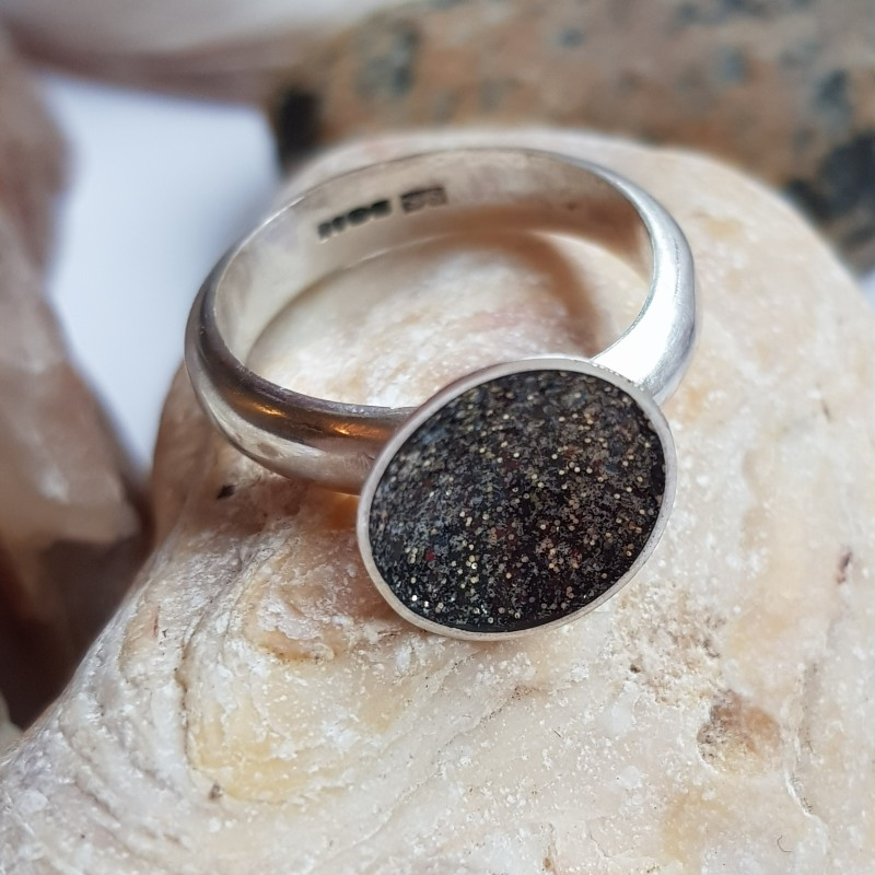 Sterling silver hallmarked small galaxy ring with black and gold enamel with multi coloured flecks