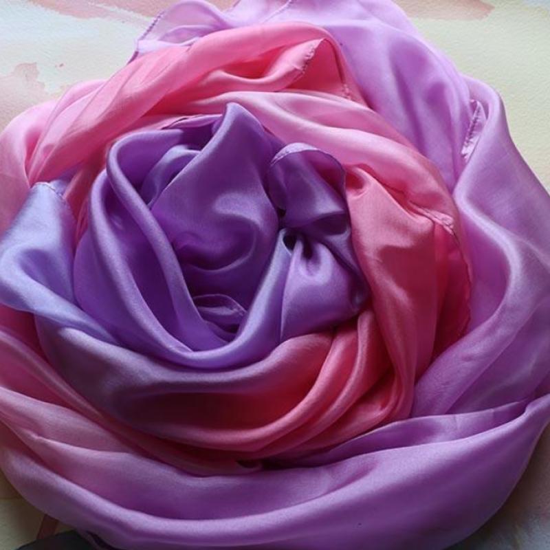 Silketeppe 90x270cm Blomst