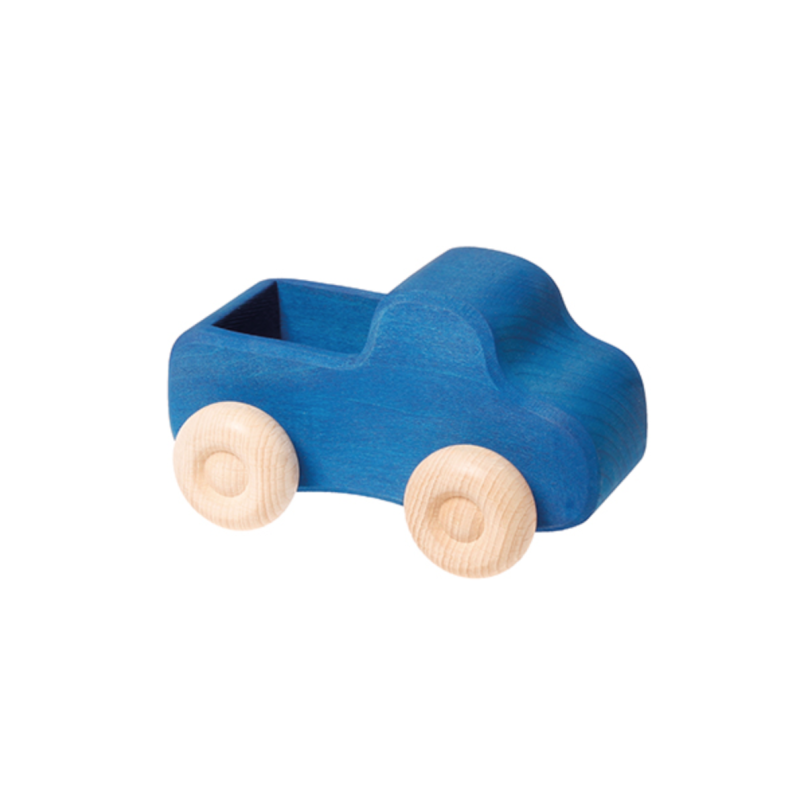 Blå bil med lasteplan