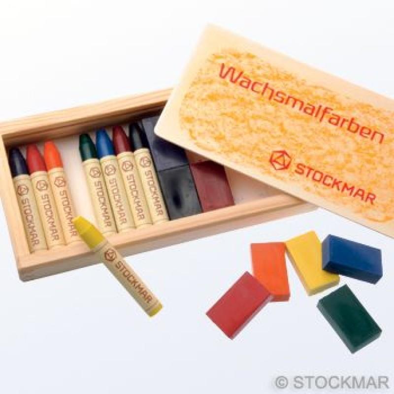 Stockmar - Gaveeske med 8 stk. fargeblokker og 8 stk. fargestifter i bivoks