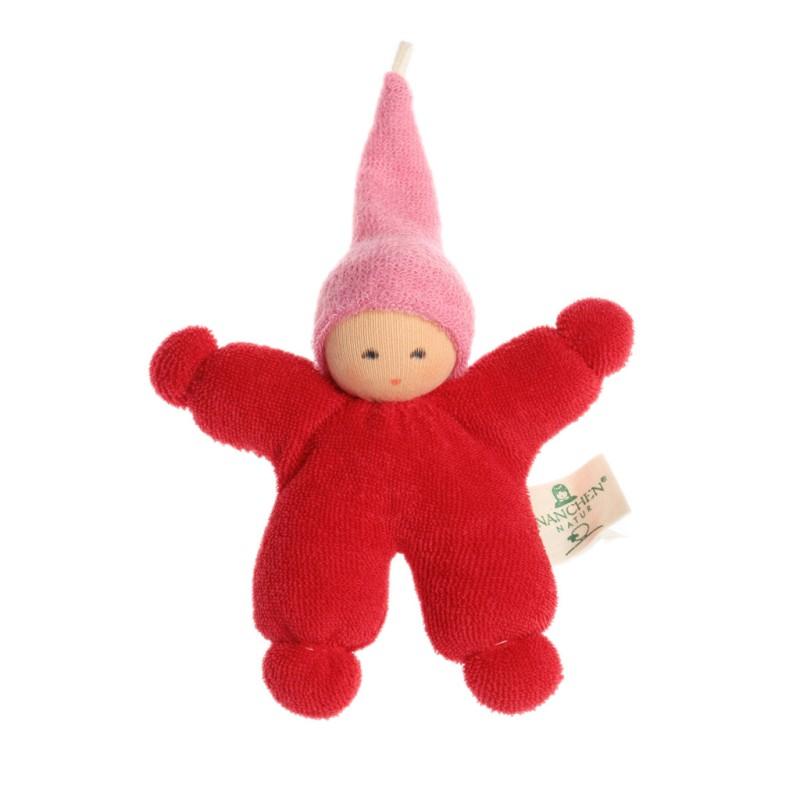 Nanchen - Rød dukke med rosa lue