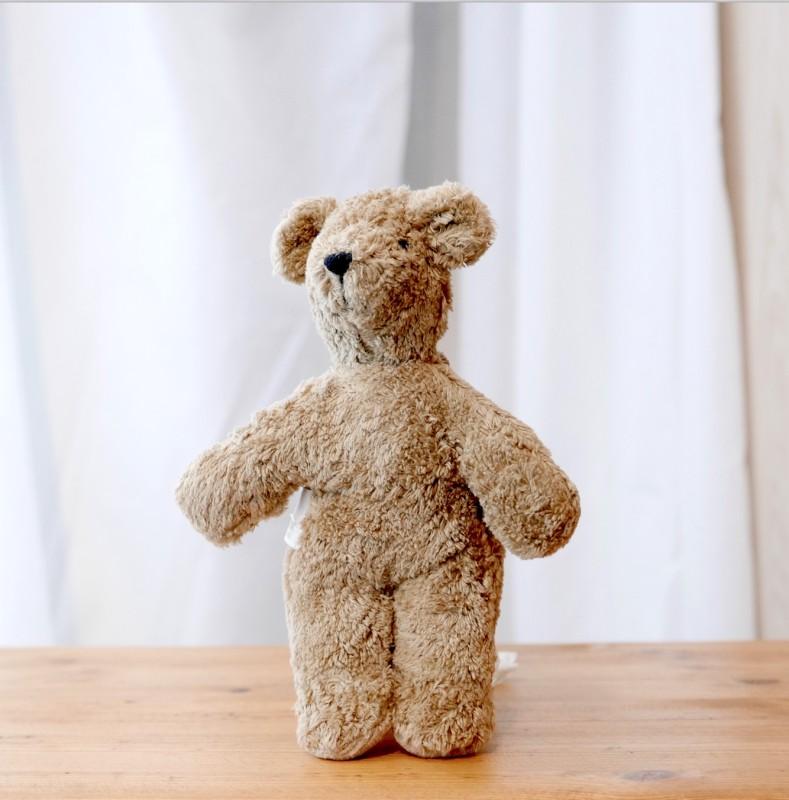 Senger - Lys brun mini bjørn i økologisk bomull og ull