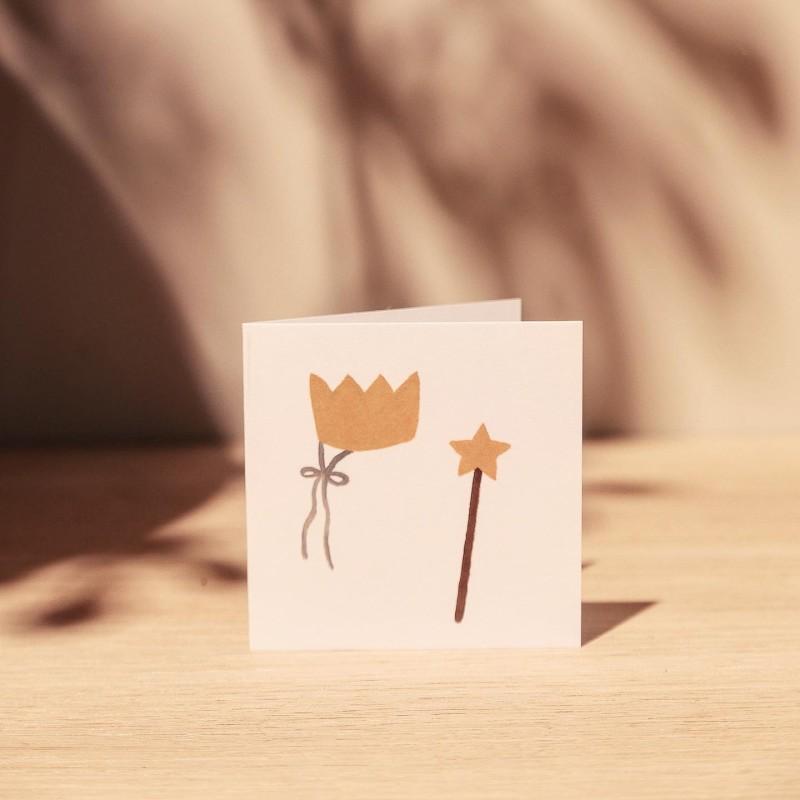 Kort - Krone og Tryllestav 8x8cm