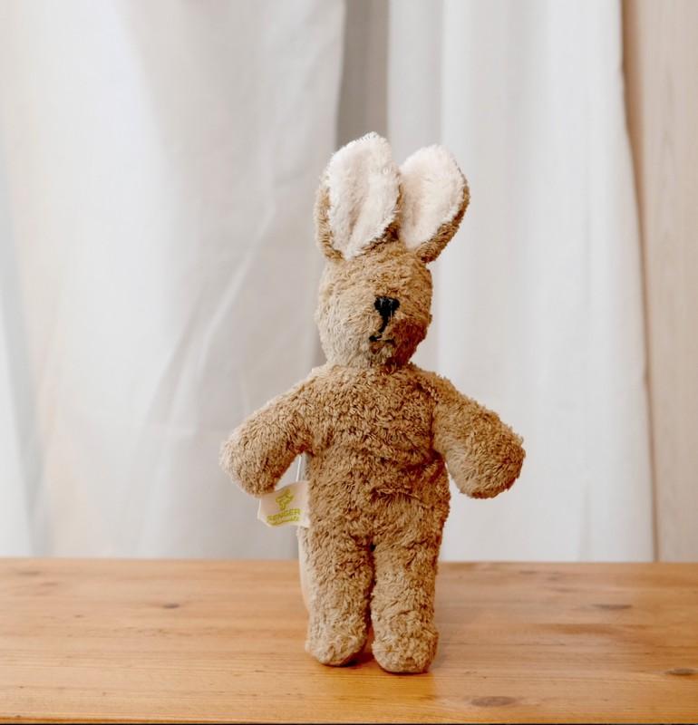 Lys brun mini kanin i økologisk bomull og ull
