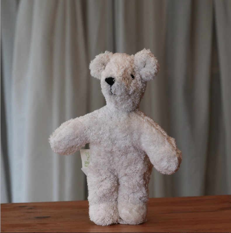 Senger - Lys mini bjørn i økologisk bomull og ull