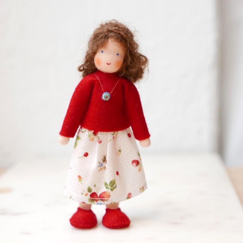 Dame til dukkehus - brunt hår