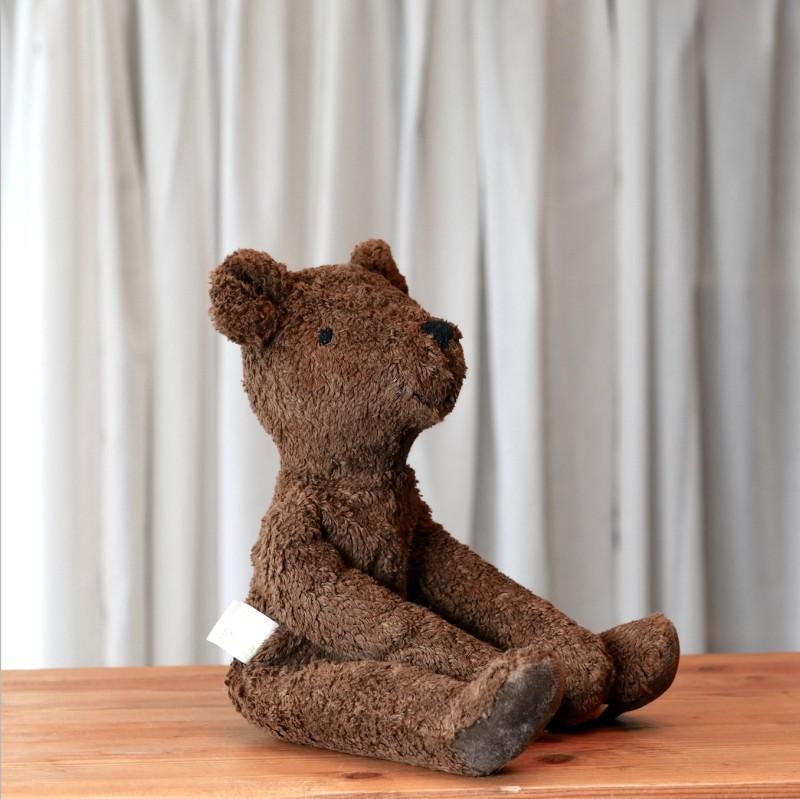 Brun liten bjørn i økologisk bomull og ull