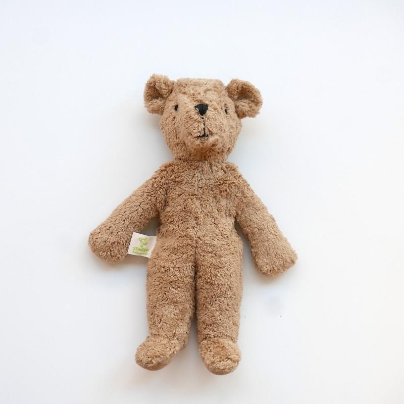 Senger - Lys brun liten bjørn i økologisk bomull og ull