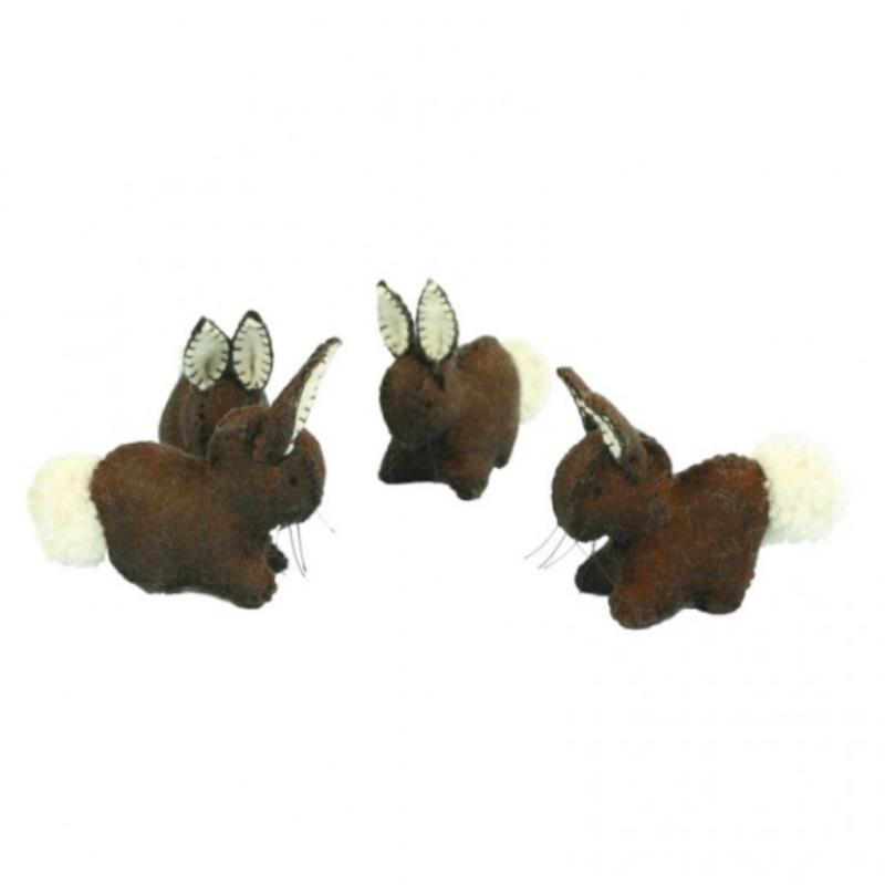 Mørk brun kanin i filt