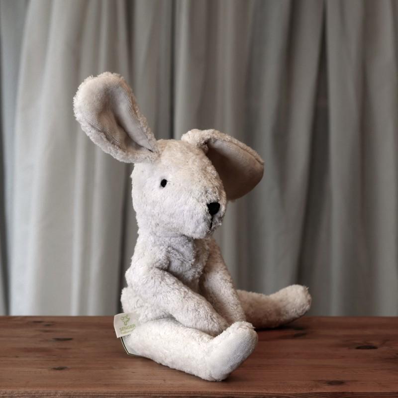 Lys stor kanin i økologisk bomull og ull