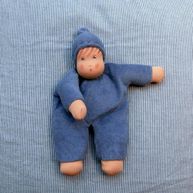 Frottèdukke 22cm blå