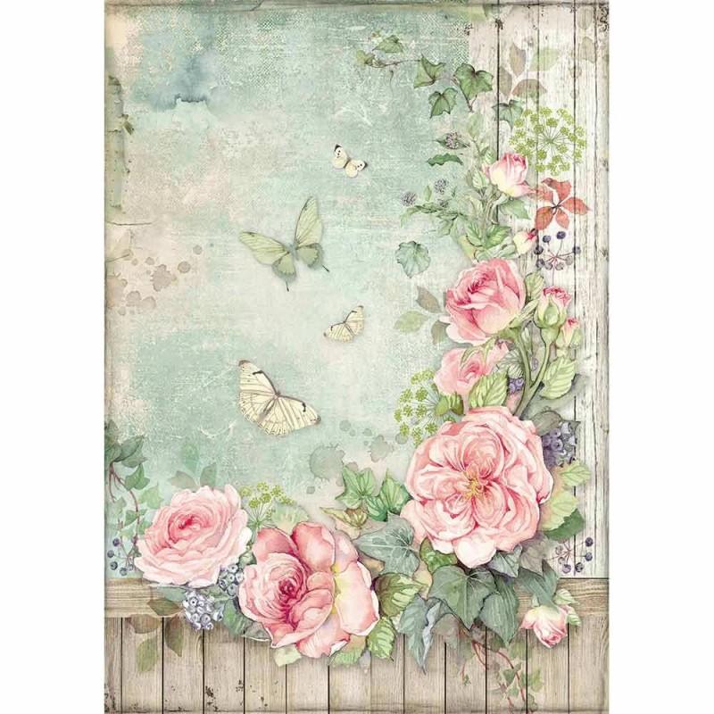 Riisipaperi Stamperia, A4-koko, Rose
