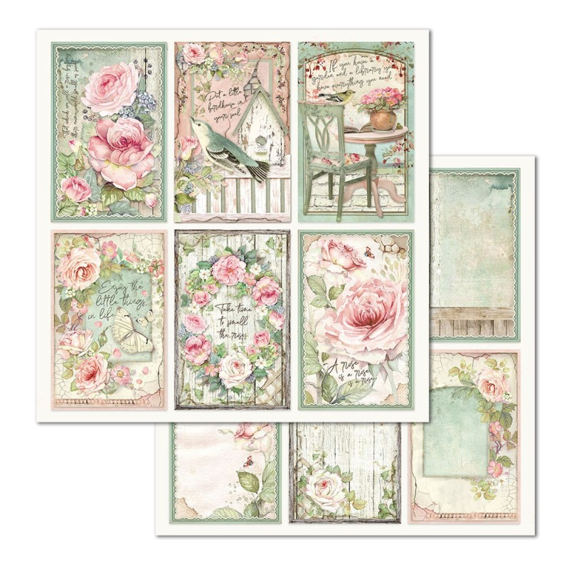 Skräppipaperi Stamperia, 30x30cm, Roses kortit