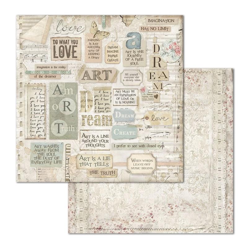 Skräppipaperi Stamperia, 30x30cm, Imagine tekstit