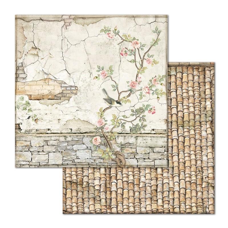 Skräppipaperi Stamperia, 30x30cm, Rose seinä