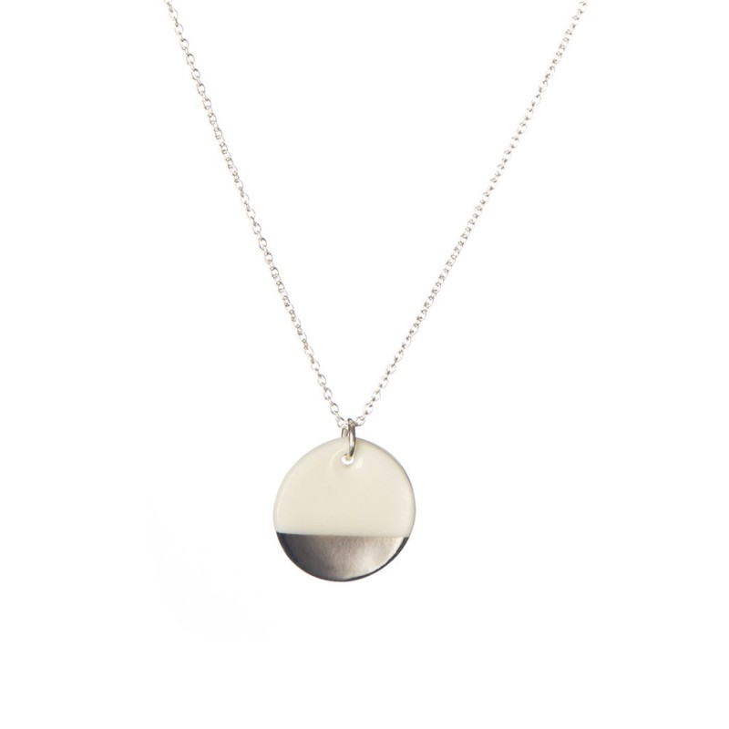 Porcelain Silver Dipped Disc Necklace
