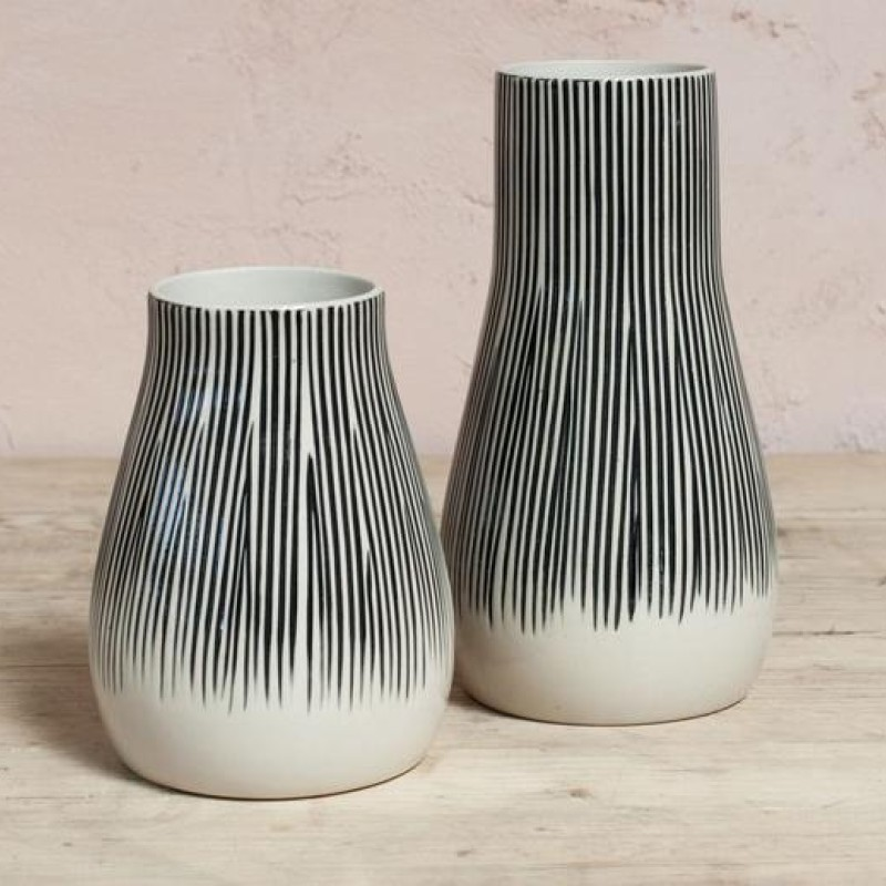Matamba Ceramic Vase - Black Lines - Small 13.5 X 11cm